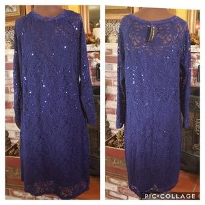 CANDALITE WOMEN'S STRETCH LACE SEQUINS DRESS 3X